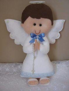 Com - AmigurumiHouse Christmas Sewing, Felt Christmas, Christmas Angels, Christmas Crafts, Baptism Party Favors, Felt Angel, Felt Crafts Diy, Felt Fairy, Angel Crafts