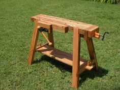 Work and Saw Bench by JayT -- Homemade portable work and saw bench constructed from scrap oak. Equipped with a commercial face vise and a tail vise adapted from a pipe clamp. http://www.homemadetools.net/homemade-work-and-saw-bench