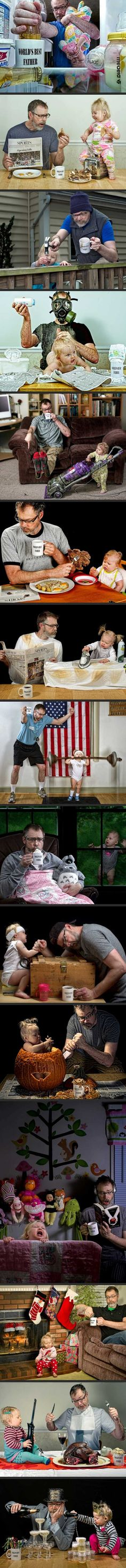 World's Best Dad stages hilarious photos with his toddler.