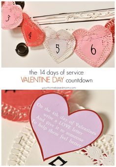 Create a Valentine Advent Calendar using paper doilies. Each heart pocket is filled with a fun act of love to do the 14 days leading up to Valentine's Day. Advent Calendar Activities, Advent Calendars For Kids, Valentine Activities, Diy Advent Calendar, Primary Activities, Valentine Wreath, Valentine Day Love, Valentine Day Crafts, Valentine Ideas