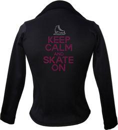 Kami-So Polartec Ice Skating Jacket - Keep Calm and skate on   This beatiful figure skating jacket is made from Polartec Fabric #figureskating #figureskatingstore #figureskates #skating #skater #figureskater #iceskating #iceskater #icedance #ice #skates #pants #iceskates #skatingapparel #skatingjacket #kamiso #figureskatingjacket
