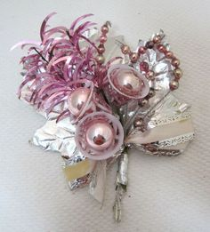 Vintage Pink & Silver Christmas Corsage w Bells & Mercury Glass Bead Points  T67  | eBay