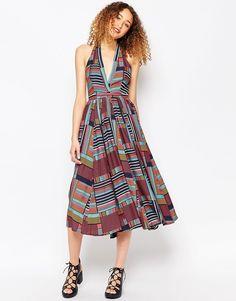 ASOS AFRICA x Chichia Halter Midi Dress in Tile print for a girl squad brunch | www.bold-in-gold.com  #boldingoldblog