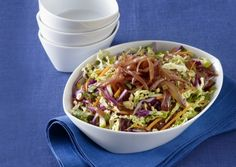 Colorful Asian Slaw with Warm Ginger-Lime Dressing Recipe | Vegetarian Times