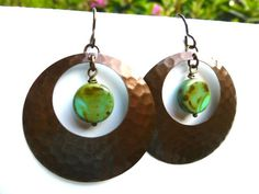 Bronze hammered hoop earrings with green Picasso Czech glass jewelry andria mckee, McKee Jewelry,  McKee Jewelry Designs,   hand made jewelry, jewellery