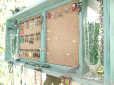 "Jewelry Organizer Wall Display Message Board..""JADE & BLACK SATIN"" with Bronze or You Choose Color ..Shabby Chic Beach Cottage...Handmade. $118.00, via Etsy."