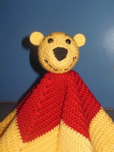 Boys Girls Crochet Baby Blanket or Toddler Blanket Yellow, Red Bear Security Blanket, Baby shower gift Winnie the Pooh. $22.00, via Etsy.