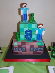 Minecraft Birthday Party cake!  See more party planning ideas at CatchMyParty.com!