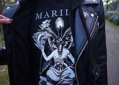 marilyn manson devil t-shirt, satanic baphomet goat shirt, marilyn manson band artist shirts, gothic male fashion, goth mens fashion blog. more at http://www.lacarmina.com/blog/2018/01/highgate-cemetery-haunted-tour-london-graveyard-goths/