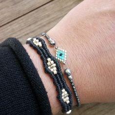 #hi #evileye #bracelets #macramejewelry #handmadejewelry #miyuki #seedbeads #hematite #sterlingsilver Macrame Jewelry, Evil Eye, Seed Beads, Handmade Jewelry, Sterling Silver, Bracelets, Instagram, Handmade Jewellery, Jewellery Making
