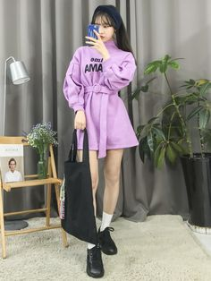 Big sales on amazing korean fashion trends! Korean Fashion Trends, Korean Street Fashion, Korea Fashion, Kpop Fashion, Asian Fashion, Girl Fashion, Womens Fashion, Purple Outfits, Edgy Outfits