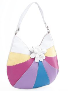 Shoulder Bag With Tab Fastener And Flower Detail - White Purple 9e9b40db7bb01