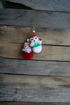 Set of Two Vintage Christmas Ornaments by vintapod on Etsy