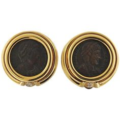 bulgari monete diamond ancient coin gold earrings