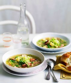 Australian Gourmet Traveller fast recipe for speck, cabbage and pea soup.
