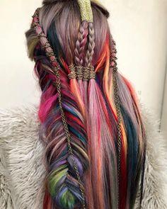 Medium Long Hair, Very Long Hair, Medium Hair Styles, Natural Hair Styles, Long Hair Styles, Hair Color Purple, Cool Hair Color, Edgy Hair Colors, Pretty Hairstyles