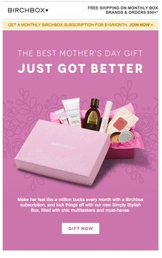 Birchbox mother's day email beauty web, html email, web banner, mothers day advertising Mothers Day Advertising, Beauty Life Hacks Videos, Email Marketing Services, Dental Plans, Newsletter Design, Box Branding, Email Templates, Email Design, Makeup Designs