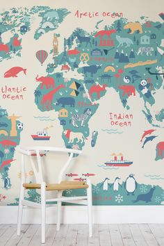 Explorer Kids World Map Mural - Fun map wallpaper for children #traveltheword #Homesweethome