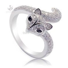 Eulonvan 925 Sterling Silver Fox Animal Ring Beautiful Women Jewelry Romantic White and Black Cubic Zirconia Wholesale R--3742 #Affiliate