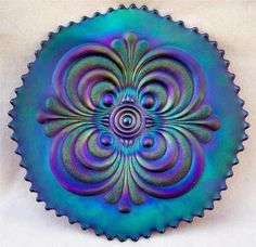 """MINT IMPERIAL CARNIVAL GLASS """" SCROLL EMBOSSED """" PLATE"""