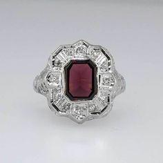 Intricate Art Deco Maroon Citrine & Diamond Ring 14k