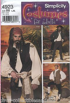 SIMPLICITY 4923 Mens Pirate Costumes 3 Variations Sewing Pattern X-XL Uncut