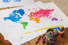 Weltkarte in leuchtenden Farben