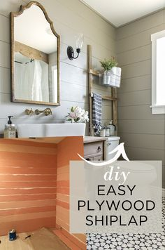 The easy and inexpensive way to DIY a shiplap wall using plywood!