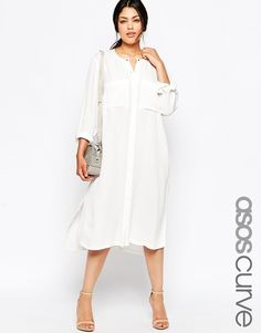 ASOS CURVE Midi Shirt Dress ***love the collarless look, drop the pockets for hand use- maybe asymmetrical? Two feels cooler, more laid back though. NOT in pure white- dove grey?