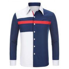 Trendiga Oregelbunden Tre färgSkarv skjortkrage Långärmad Bantning Män s Polyester tröja