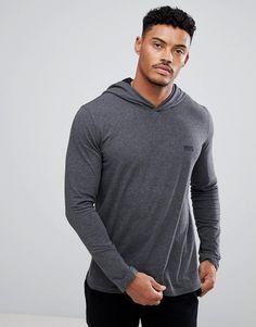 BOSS By Hugo Boss Long Sleeve Top with Hood - Gray