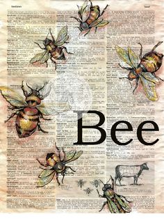 "Bee Mixed Media Drawing on 9"" x 12"" Distressed, Dictionary Page - available for purchase at www.etsy.com/shop/flyingshoes - flying shoes art studio"