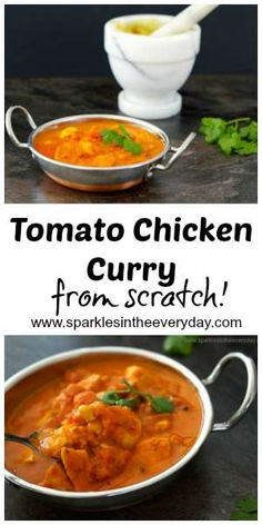 This Tomato Chicken Curry recipe...is made from scratch! No jars or packets. It is easy to do, delicious and gluten-free!