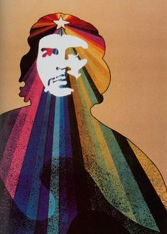 Cuban poster by Alfredo Rostgaard, 1969, Radiant Che.