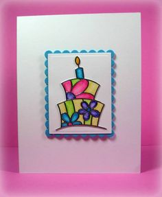 Elizabeth Craft Designs Birthday Cake by - Cards and Paper Crafts at Splitcoaststampers Cool Cards, Diy Cards, Craft Cards, Elizabeth Craft Designs, Craft Stickers, Glitter Cards, Card Making Techniques, Card Patterns, Card Sketches