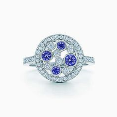 Tiffany Cobblestone ring in platinum with Montana sapphires and diamonds.