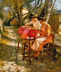 «Making Ligurian lace» Circa 1905 - Henry Herbert La Thangue (British, b.1859, d.1929).   In Liguria, Northern Italy  there is a bobbin lace museum. Ligurian fishermen's wives developed quite a reputation for lace-making beginning in the 16th Century. It was a new type of lace -the macramé lace.