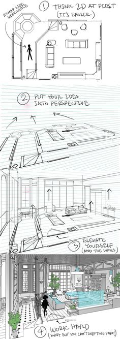 Cartoon Drawing Tips for Kids is part of Christmas drawings Anime Art - Cartoon Drawing Tips for Kids A helpful guide for building interiors digitally By Thomas Romain [Architecture Drawing Perspective Tutorial Tips] Drawingtips Drawing Interior, Interior Design Sketches, Design Interiors, Interior Design Process, Drawing Techniques, Drawing Tips, Drawing Ideas, Drawing Art, Drawing Reference