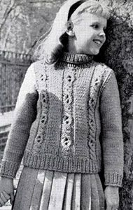 NEW! Pullover Sweater knit pattern from Fashions & Fun for the Almost Teens, Bernat Handicrafter Book No. 59 from 1957.