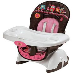 Fisher-price Pink Owl Spacesaver High Chair High chair for babies converts to a booster for toddlers. Strap it to almost any kitchen or dining chair. Full-size, 1-hand removable, dishwasher-safe tray. Intended for use with children up to 50 lbs. Seat pad is wipeable and machine washable.  #Fisher-Price #BabyProduct
