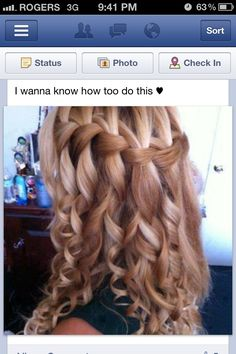 curly hair waterfall braid!