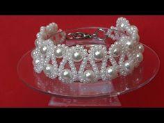 Cute and Elegant Pearl Bracelet … Class # 165 ! Bead Loom Bracelets, Beaded Bracelet Patterns, Bracelet Crafts, Beading Patterns, Beaded Earrings, Jewelry Crafts, Jewelry Model, Beaded Bags, Bead Jewellery