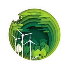 green eco friendly city and urban forest nature landscape paper layer.ecology and environment conservation creative idea concept paper art style design. 3d Paper Art, Paper Artwork, Kirigami, Banners, Folders, Cut Out Art, Licht Box, Paper Cut Design, Photo Images
