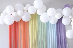 Easiest Unicorn Party Backdrop Cool Unicorn Party Ideas - Balloon Cloud and Rainbow Streamers Backdrop - Honey & BettsHoney & Betts Unicorn Themed Birthday Party, Rainbow Unicorn Party, Rainbow Birthday Party, Rainbow Theme, Birthday Party Themes, 30th Birthday, 2nd Birthday Party Ideas, 1st Birthday Party Ideas For Girls, First Birthday Party Decorations