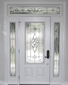Decorative Glass Solutions :: Custom Stained Glass & Custom Leaded Glass Windows, Doors and More. Stained Glass Door, Leaded Glass Windows, Stained Glass Designs, Stained Glass Panels, House Front Door, Glass Front Door, Sliding Glass Door, Window Glass Design, Traditional Front Doors