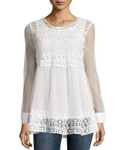 TCVKC HYDEpark Long-Sleeve Embroidered Top, White