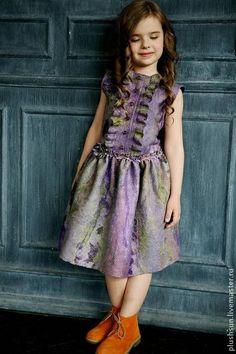 Одежда для девочек, ручной работы. Ярмарка Мастеров - ручная работа Валяное платье для девочки «Весенние фиалки». Handmade.