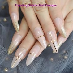 Summer Acrylic Nails Coffin Discover Luxury False Nails Nude Gold Glitter Golden Line Decoration Extra Long Fake Nails Stiletto Pigment Designer Handmade Tips Gold Nails, Nude Nails, Coffin Nails, My Nails, Gold Glitter, Jewel Nails, Marble Nails, Glitter Nail Art, White Nails