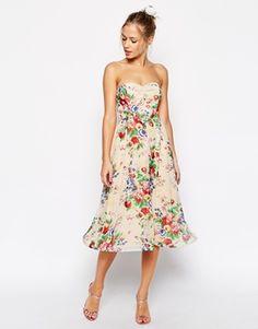ASOS Wiggle Hem Bandeau Dress in Floral Print