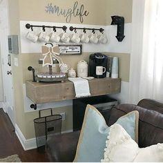Rae Dunn Display Ideas To Make Beautiful Decor In Your Home 21048 Display Design, Display Ideas, Striped Walls, Pallet Crafts, Wall Organization, Retro, Farmhouse Decor, Farmhouse Style, Kitchen Decor